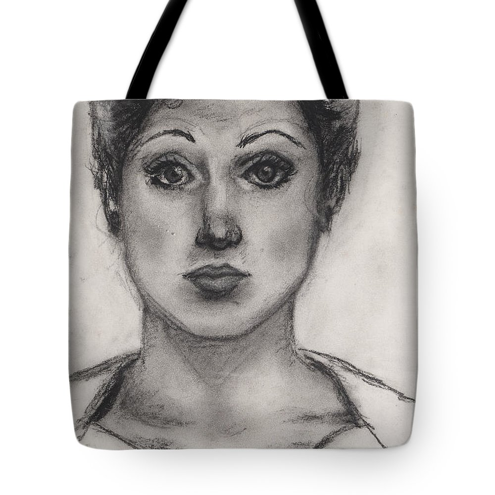 Nadine Tote Bag featuring the drawing Self Portrait At Age 18 by Nadine Rippelmeyer