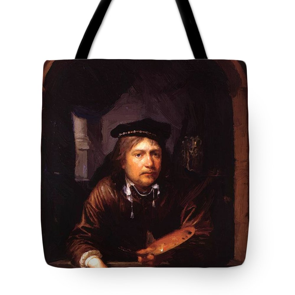 Self Tote Bag featuring the painting Self Portrait In A Window by Dou Gerrit