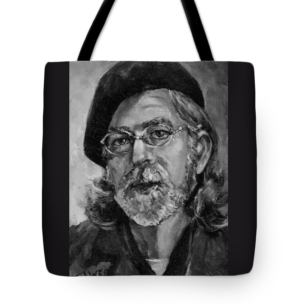 Self Portrait Tote Bag featuring the painting Self Portrait In Grey by Dennis Tawes