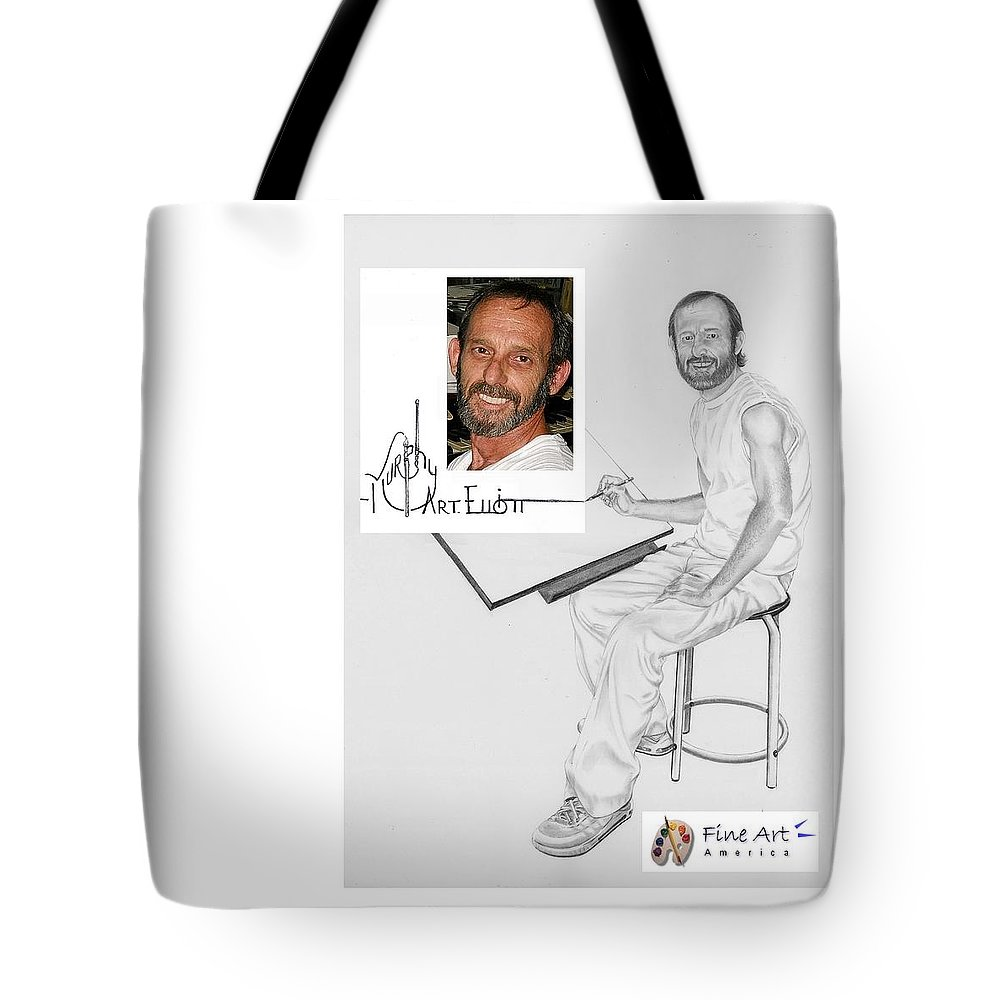 Pencil Tote Bag featuring the drawing Self Portrait by Murphy Elliott