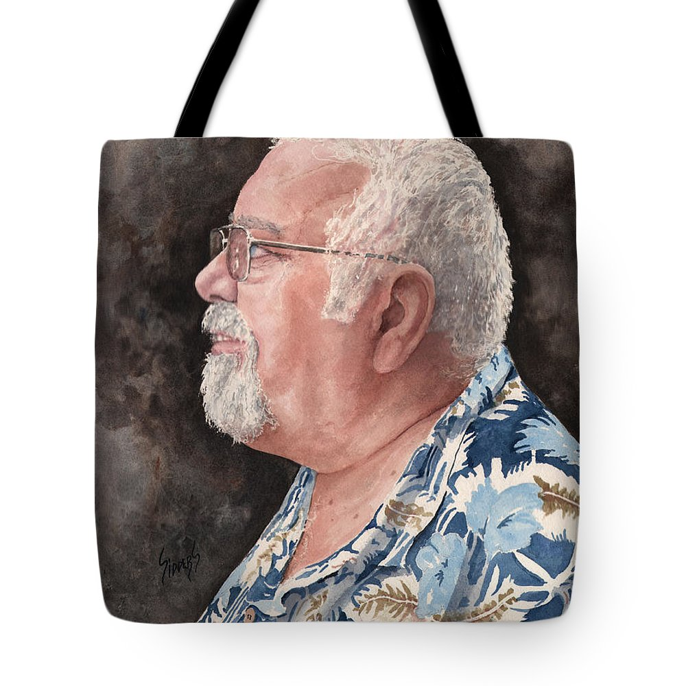 Tote Bag featuring the painting Self Portrait by Sam Sidders