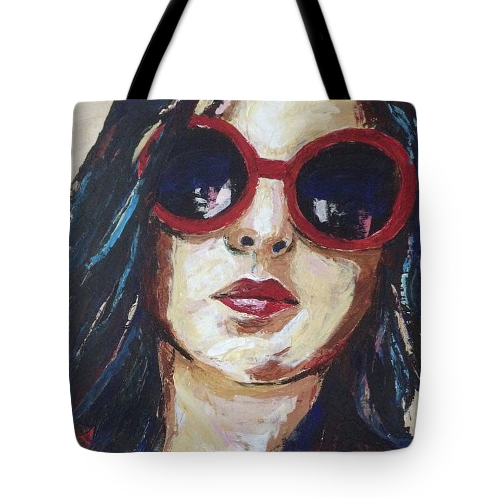Selfportrait Tote Bag featuring the painting Self Portrait by Suzette Castro