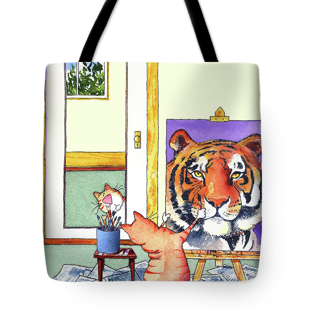 Tiger Tote Bag featuring the painting Self Portrait, Tiger by Jim Tweedy