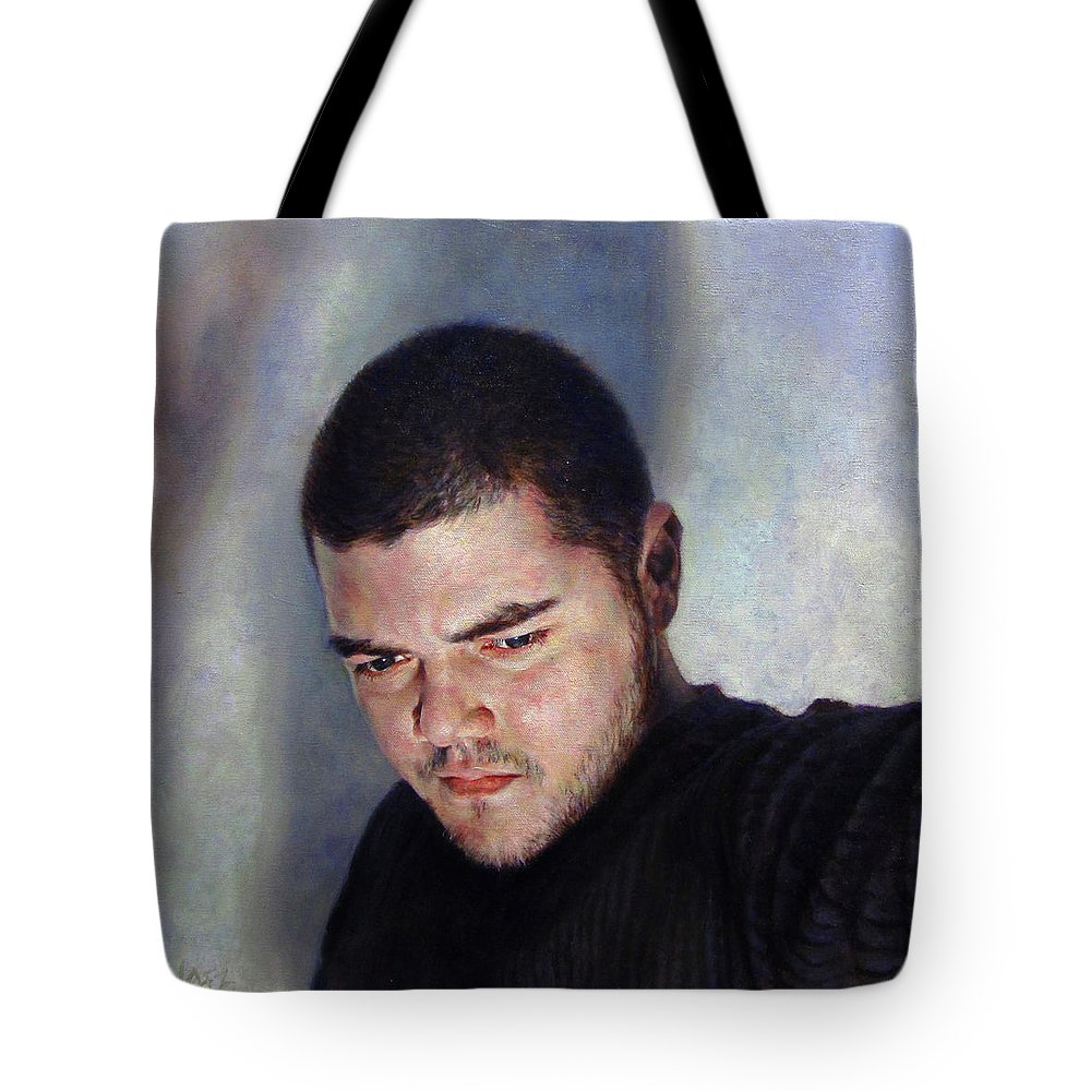 Self Tote Bag featuring the painting Self Portrait W Shadows by Joe Velez