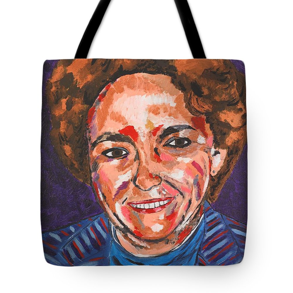 Portrait Tote Bag featuring the painting Self-portrait With Blue Jacket by Valerie Ornstein