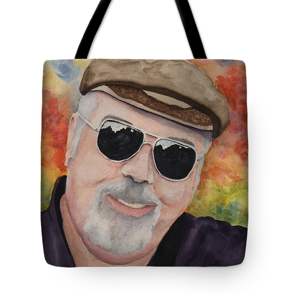 Sam Tote Bag featuring the painting Self Portrait with Sunglasses by Sam Sidders