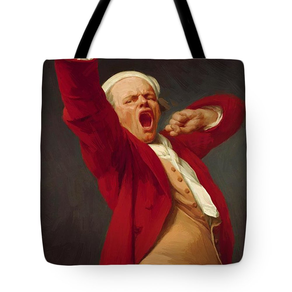 Self Tote Bag featuring the painting Self Portrait Yawning 1783 by Ducreux Joseph