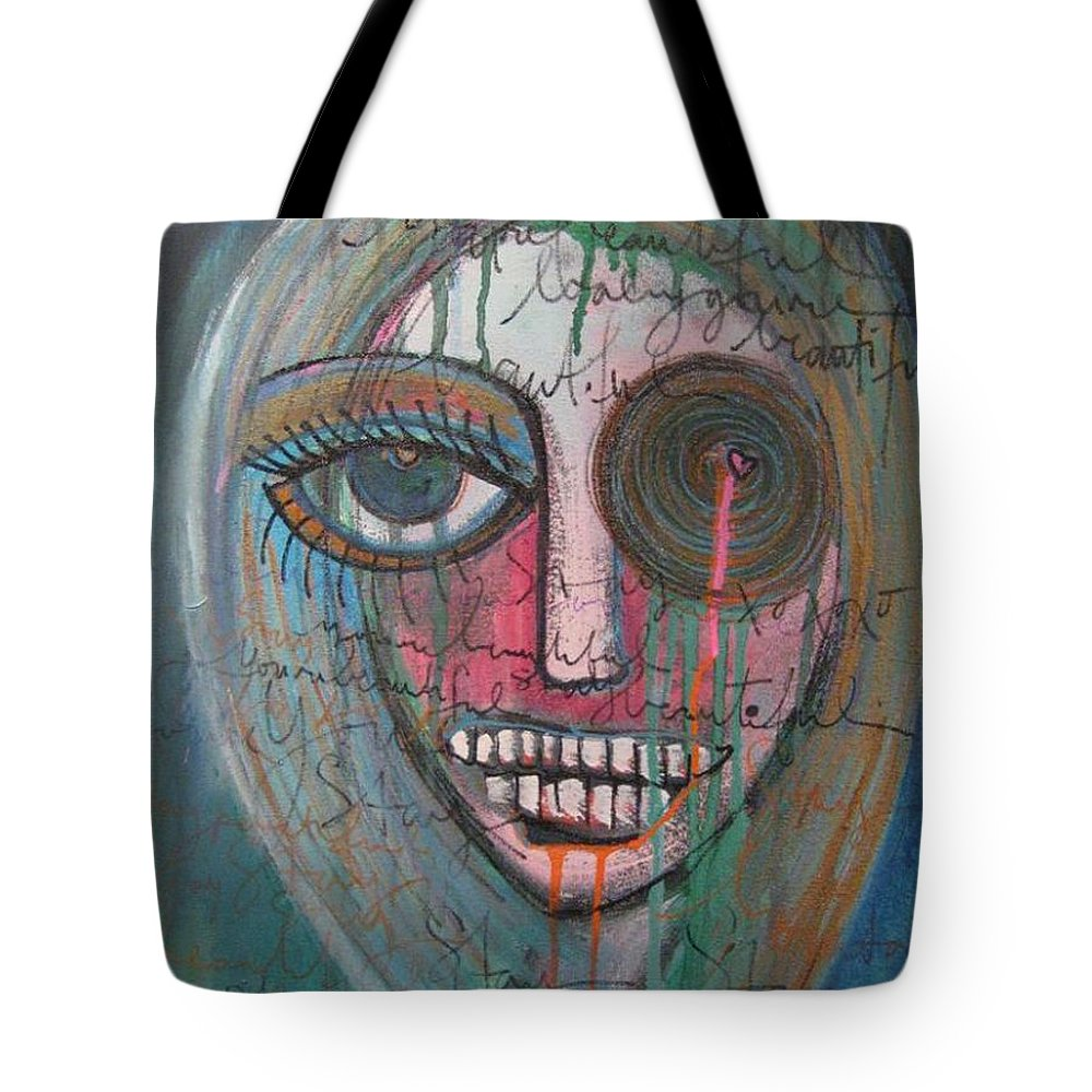 Self Portraits Tote Bag featuring the painting Self Portrait Youre Beautiful by Laurie Maves ART
