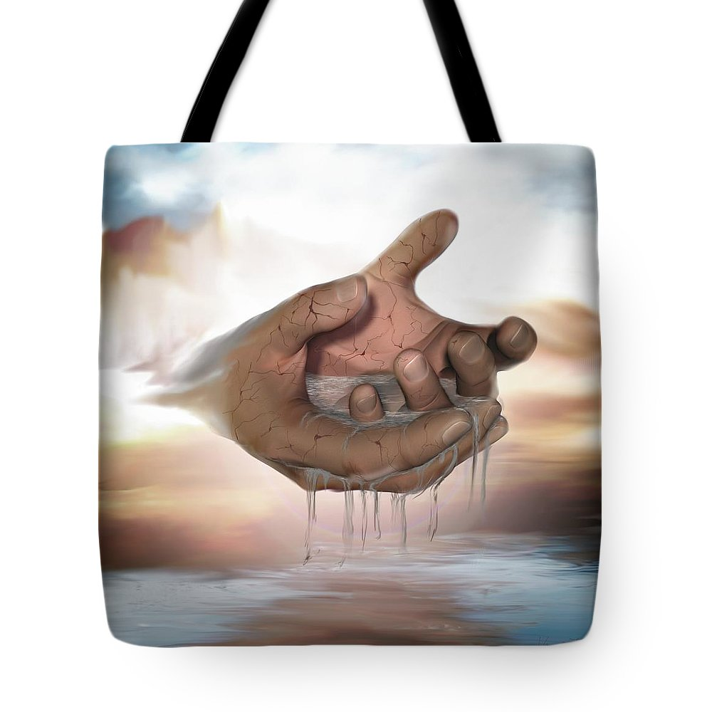 Hands Nature Water Landscape Life God Tote Bag featuring the digital art Self-replenishing Nature by Veronica Jackson