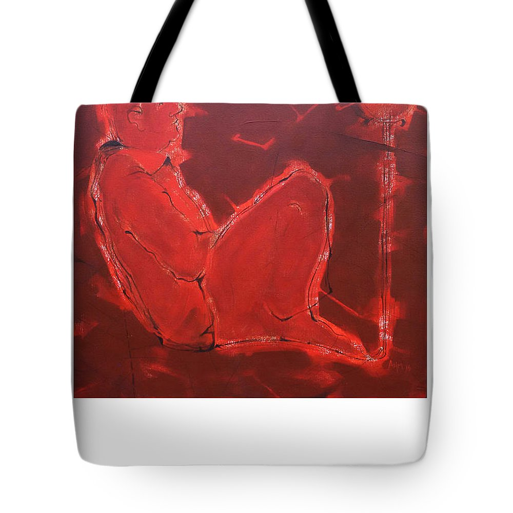 Tote Bag featuring the painting Self Thinking by Azim Inamdar