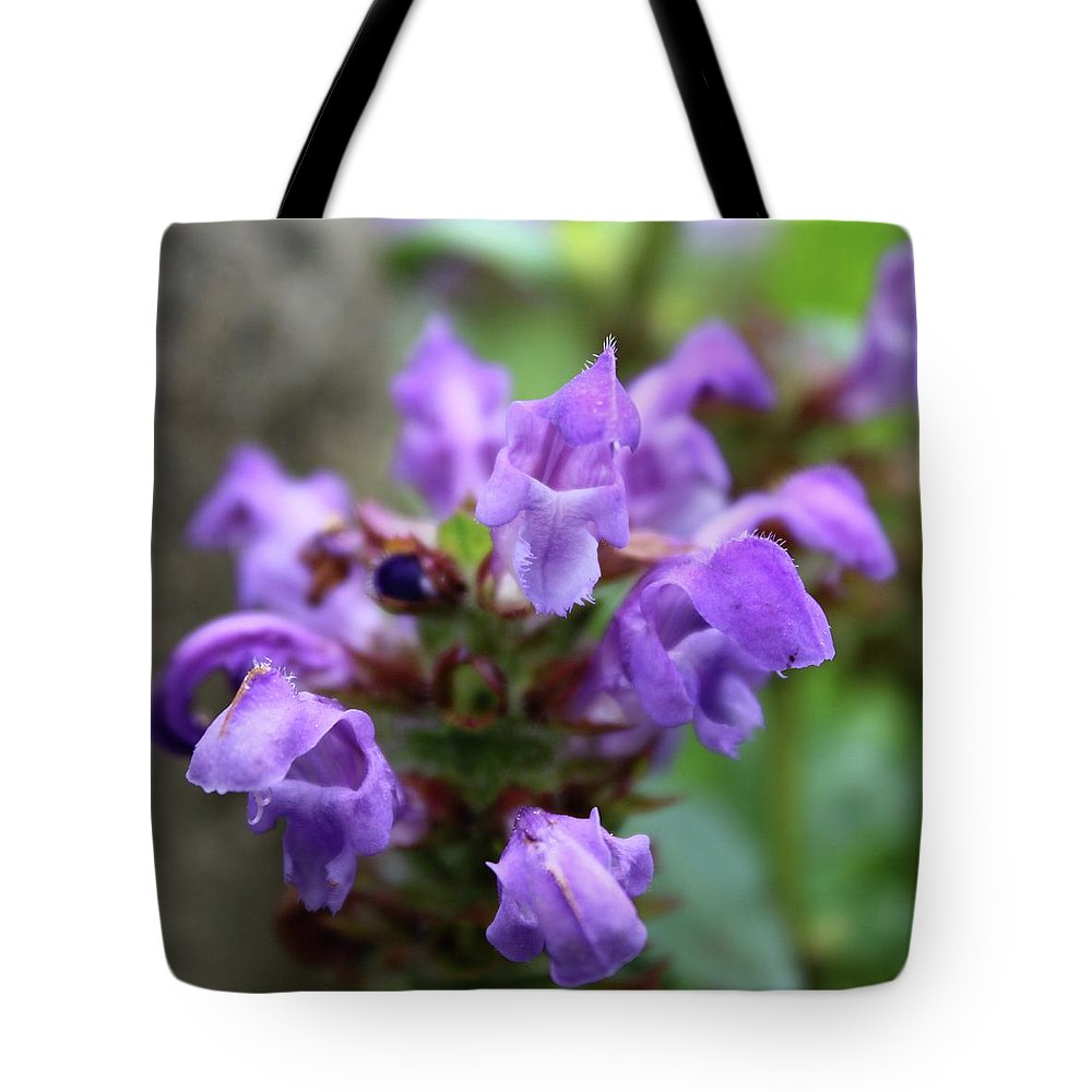 Photograph Tote Bag featuring the photograph Selfheal Up Close by Mandy Elliott