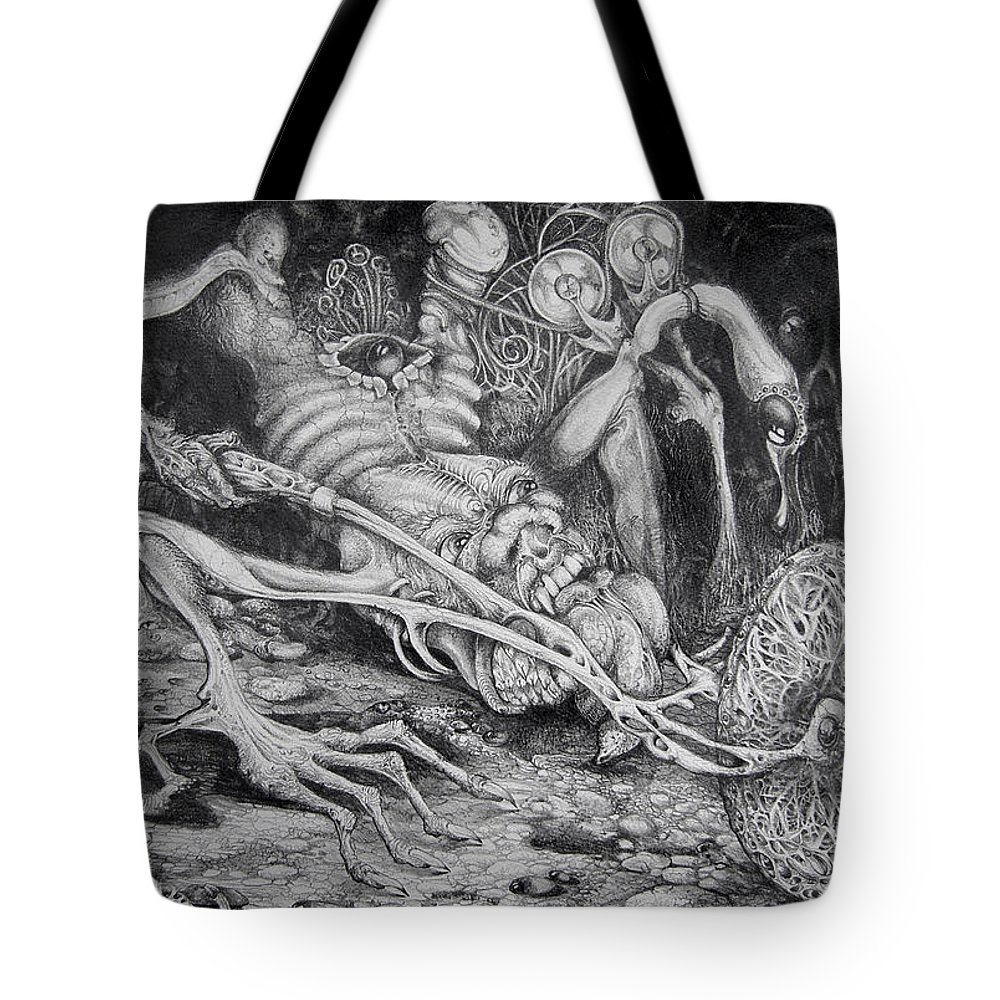 Surrealism Tote Bag featuring the drawing Selfpropelled Beastie Seeder by Otto Rapp