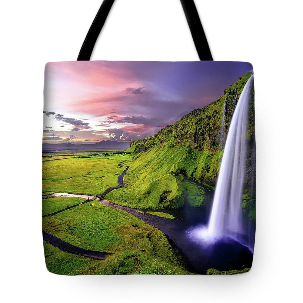 Seljalandsfoss Tote Bag featuring the photograph Seljalandsfoss Waterfall by David Dehner