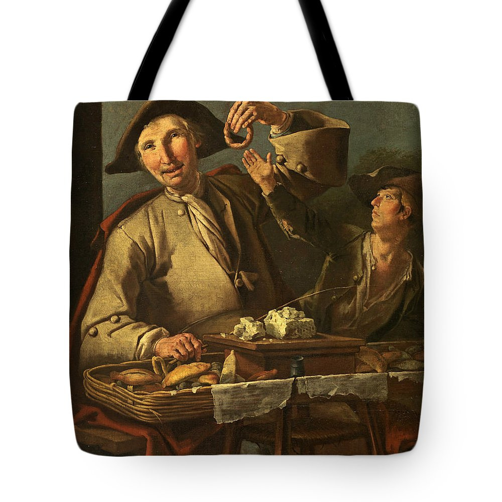 Giacomo Francesco Cipper Tote Bag featuring the painting Seller Of Sweets And Donuts by Giacomo Francesco Cipper