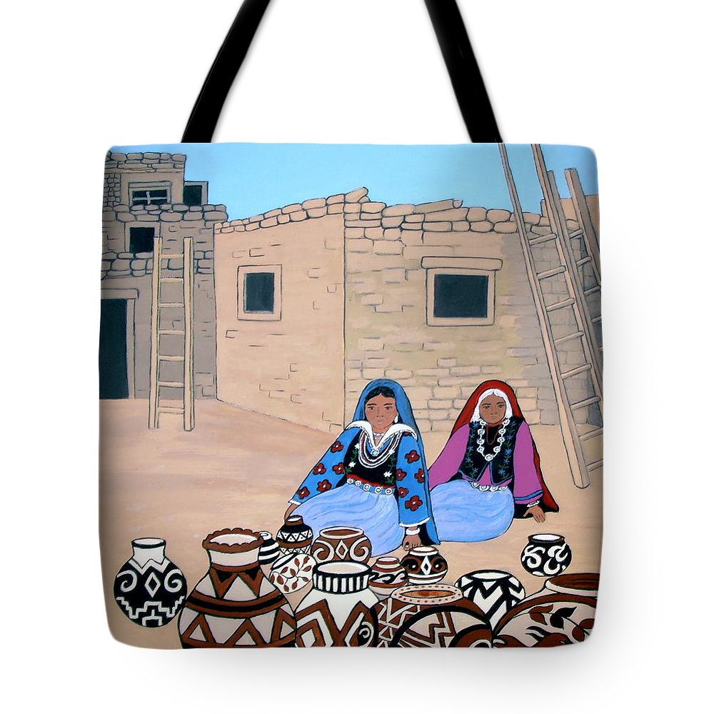 Women Tote Bag featuring the painting Selling Pots by Stephanie Moore