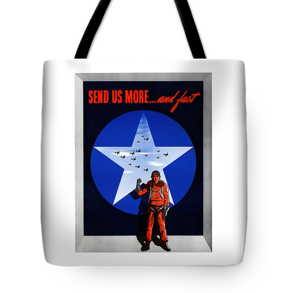 Air Force Tote Bag featuring the painting Send Us More And Fast -- Ww2 by War Is Hell Store