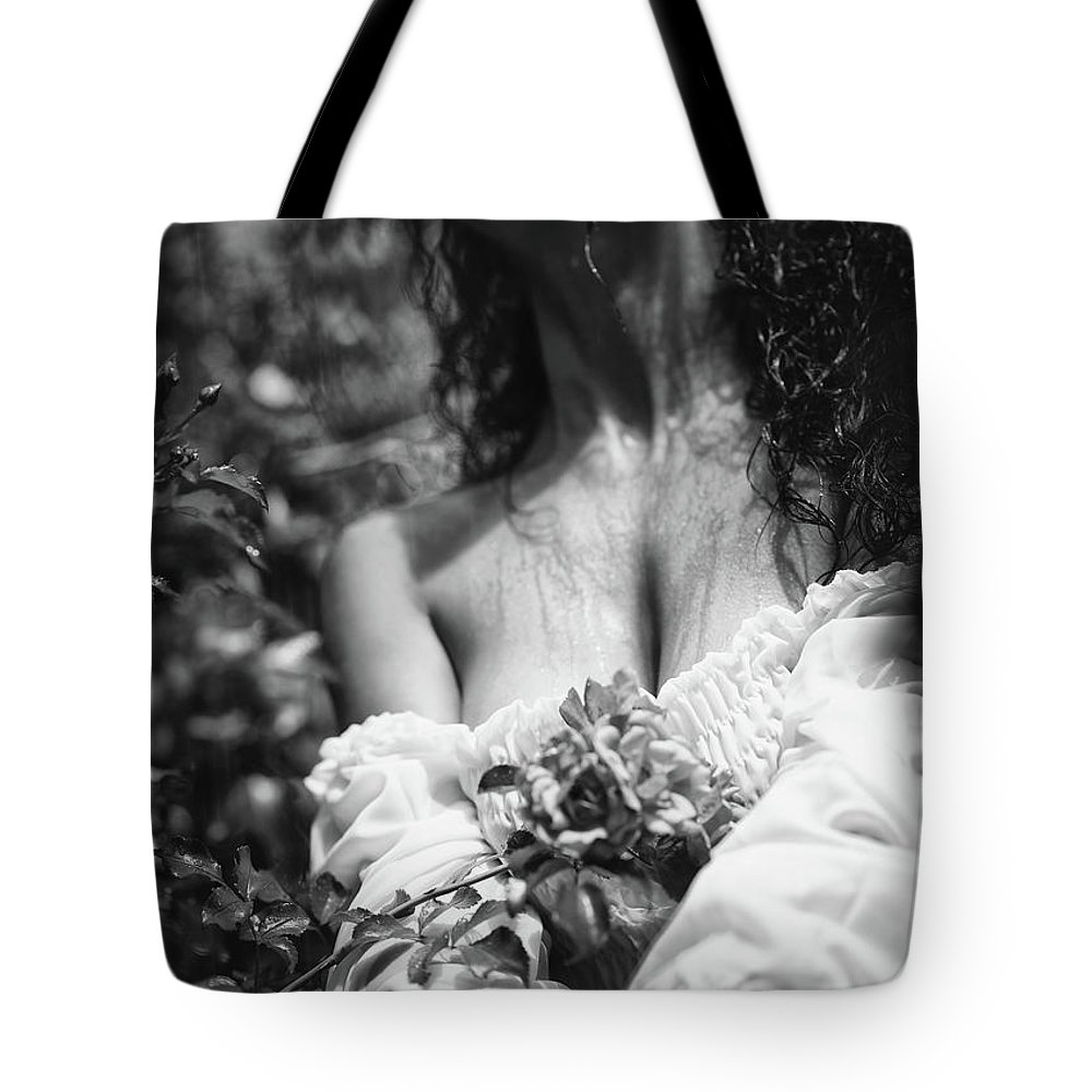 Sensual tote bag featuring the photograph sensual artistic black and white photo of beautiful woman with