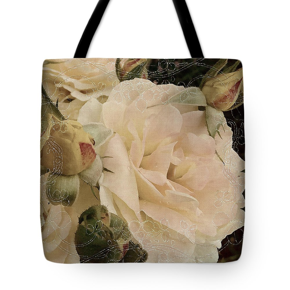 Roses Tote Bag featuring the mixed media Sensual Kiss Of Yesteryear by Georgiana Romanovna