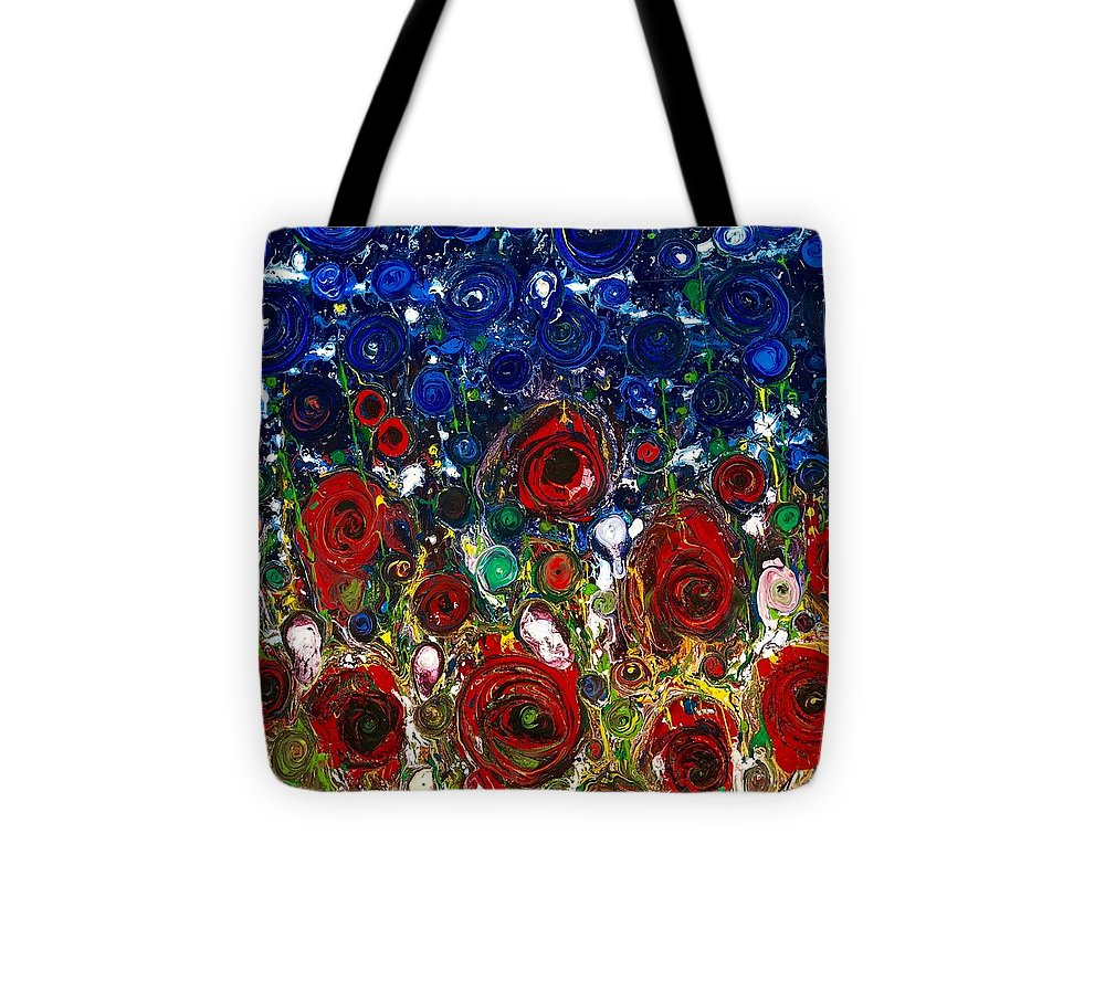 Abstract Flowers Puppies Blu Sky Red Roses Impressionist Emotions Tuscany Memories Sentimenti Ritrovati Nature Annabrunelli Anna Anuta Brunelli Tote Bag featuring the painting Sentimenti Ritrovati by Anna A Brunelli