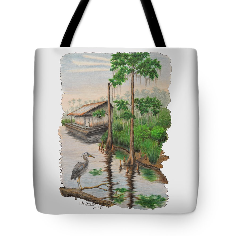 Louisiana Bayou Tote Bag featuring the drawing Sentinal by Peter E Malbrough