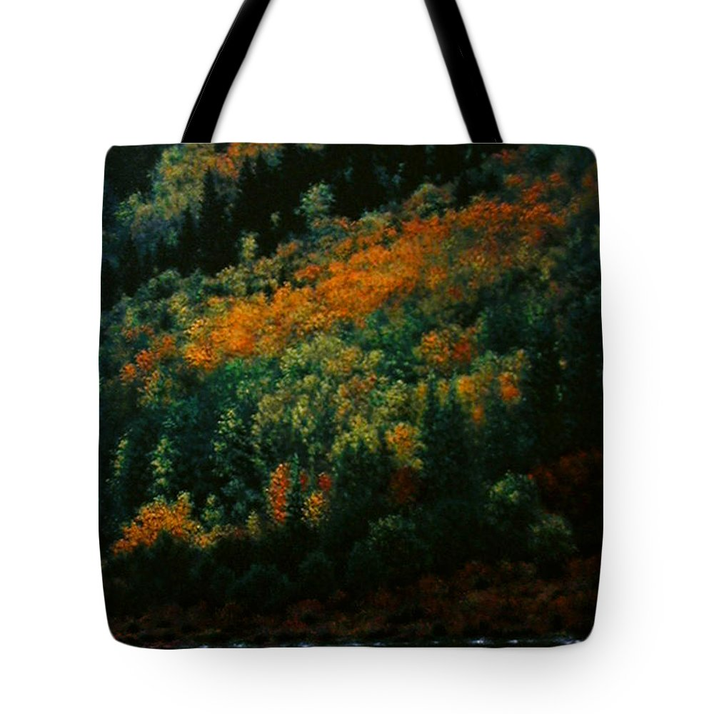 Scenic Tote Bag featuring the painting Sentinels of September Serenity by Stephen Lucas