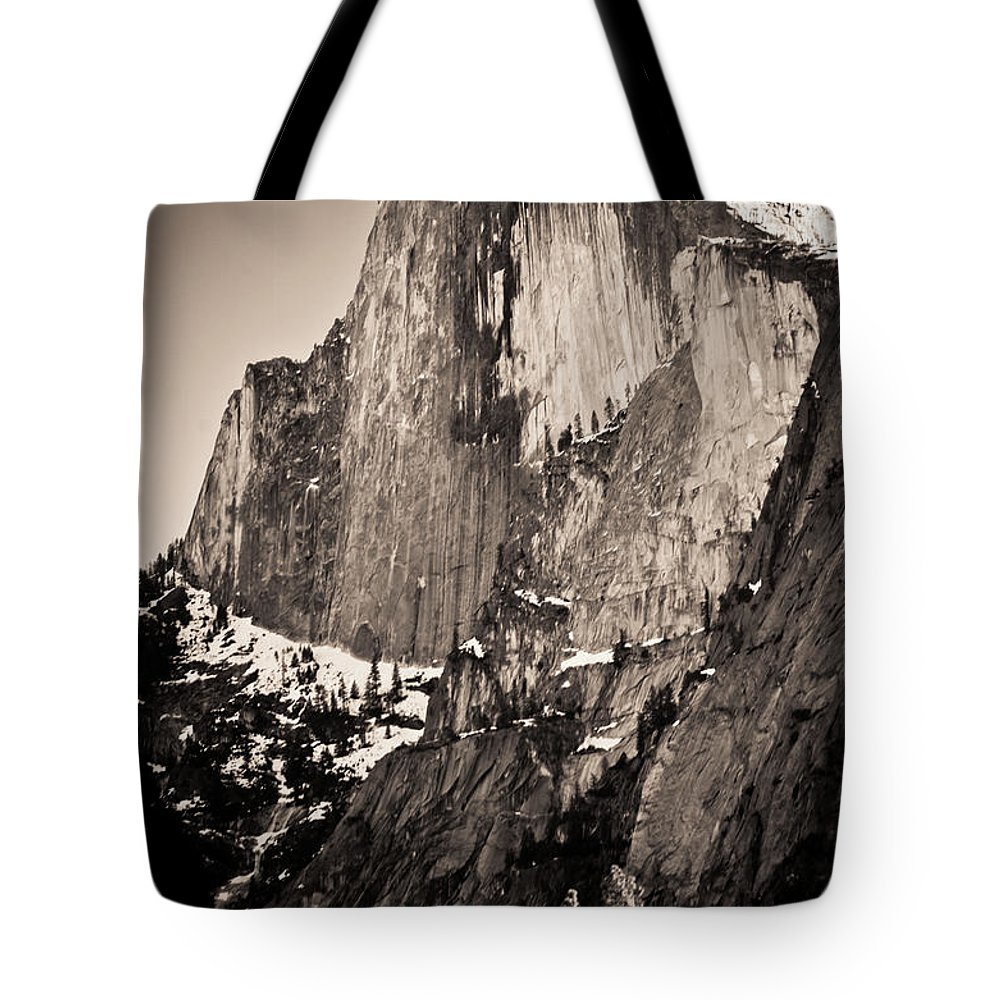 Yosemite Tote Bag featuring the photograph Sepia Half Dome by Scott Sawyer