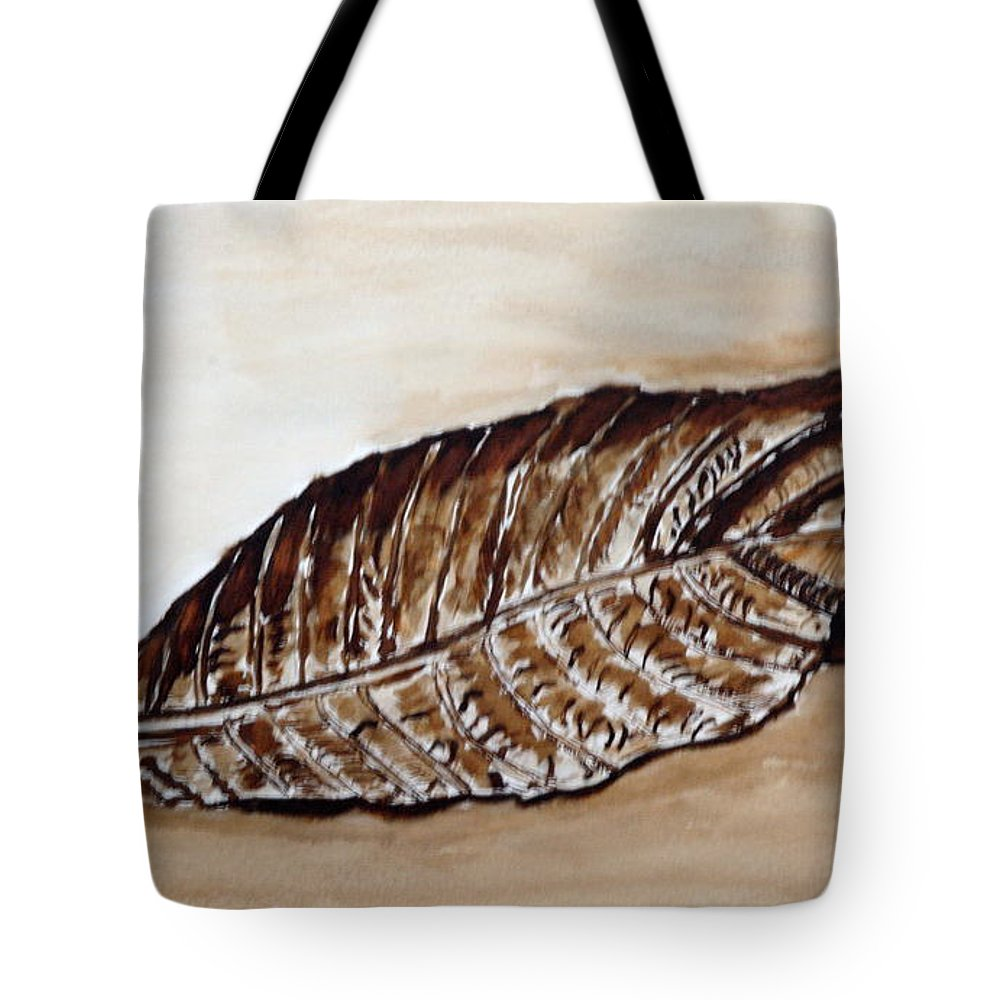 Sepia Tote Bag featuring the painting Sepia Leaf. by Shlomo Zangilevitch