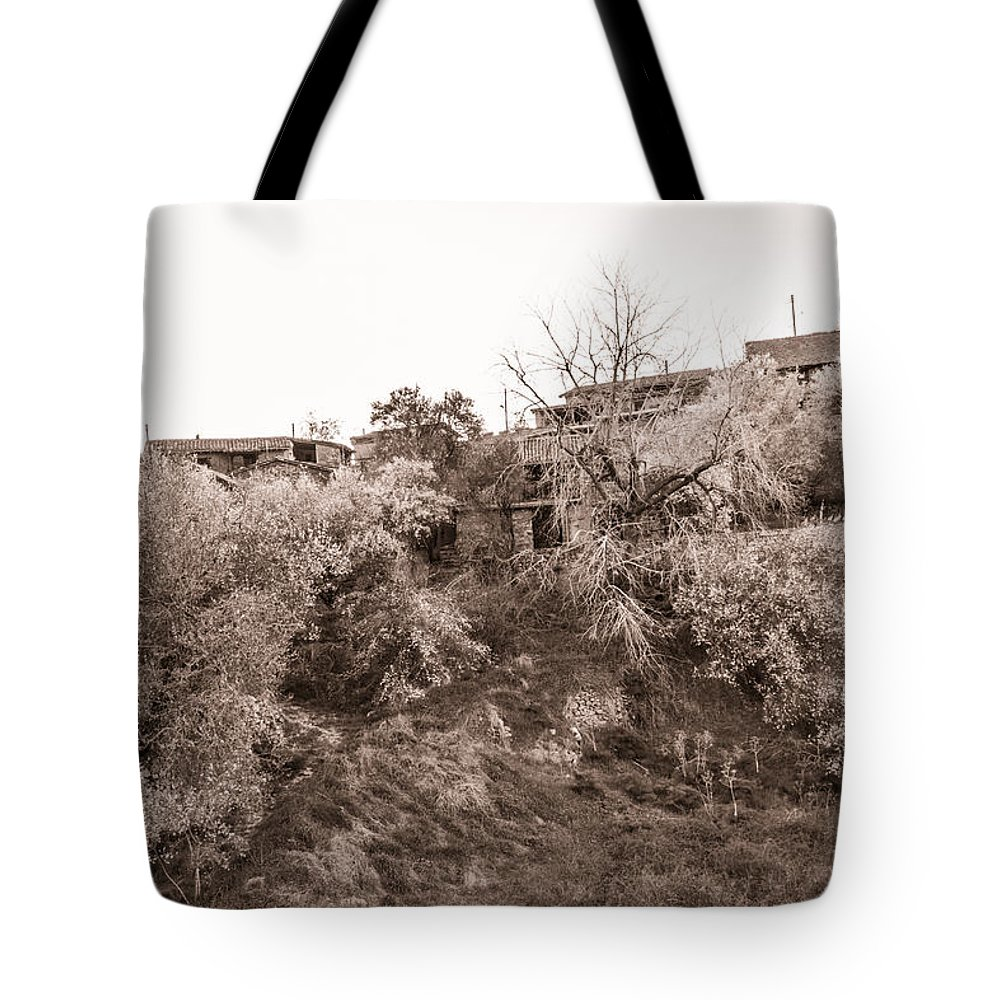 Cyprus Tote Bag featuring the photograph Sepia-toned Blooming Almond Trees Of Fikardou Village 2 by Iordanis Pallikaras