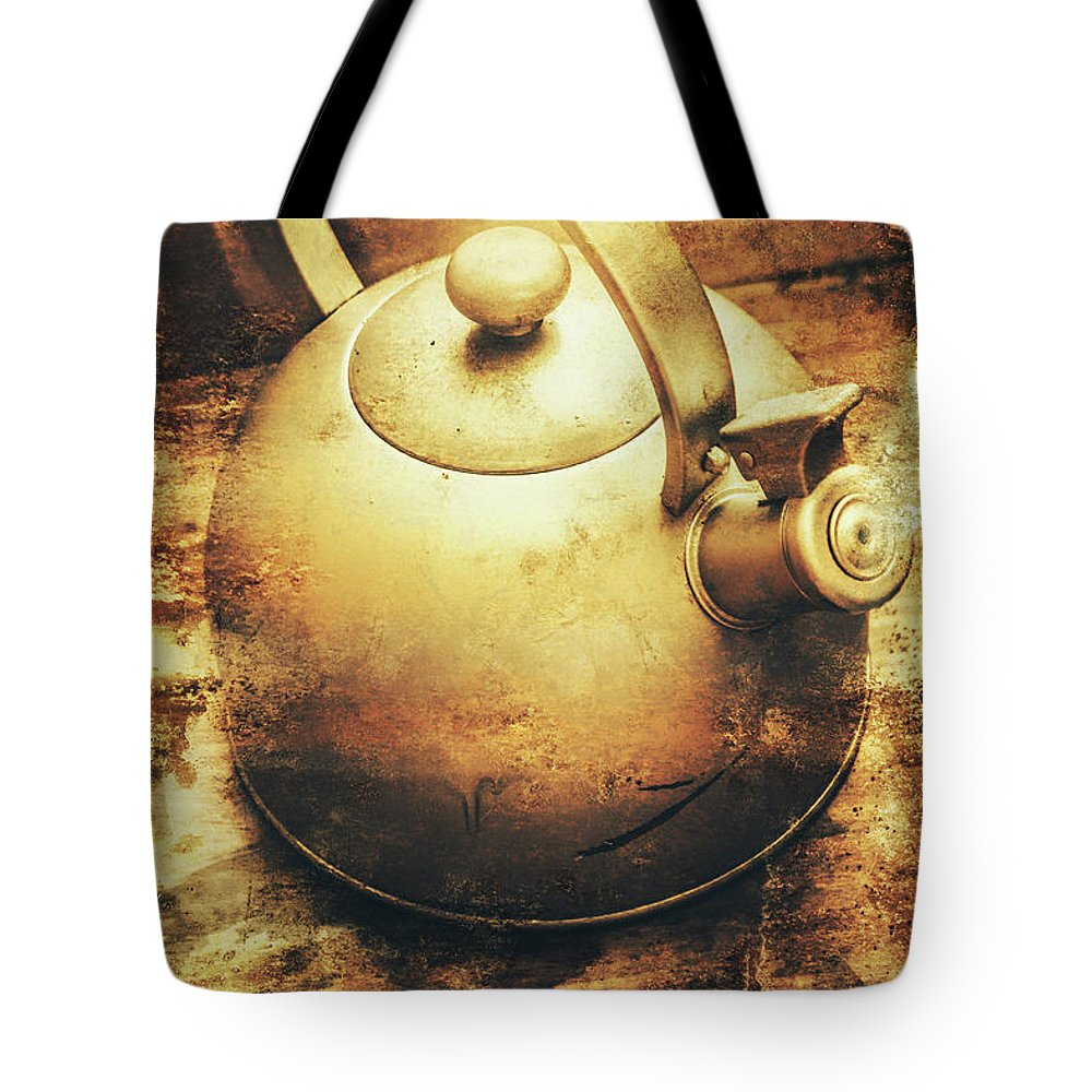 Vintage Tote Bag featuring the photograph Sepia Toned Old Vintage Domed Kettle by Jorgo Photography - Wall Art Gallery
