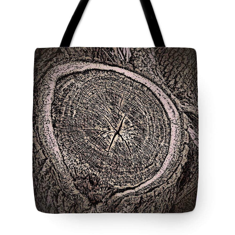 Tree Tote Bag featuring the photograph Sepia Tree Rings by Zarya Parx Studio
