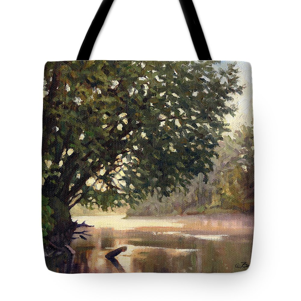 River Painting Tote Bag featuring the painting September Dawn Little Sioux River - Plein Air by Bruce Morrison