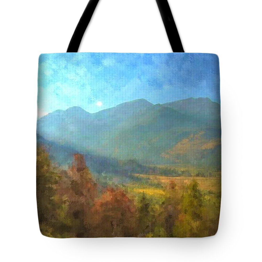 Rocky Mountain Art Tote Bag featuring the painting September In The Rockies by Trula Walker
