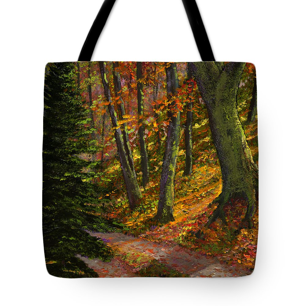 Road In The Woods Tote Bag featuring the painting September Road by Frank Wilson