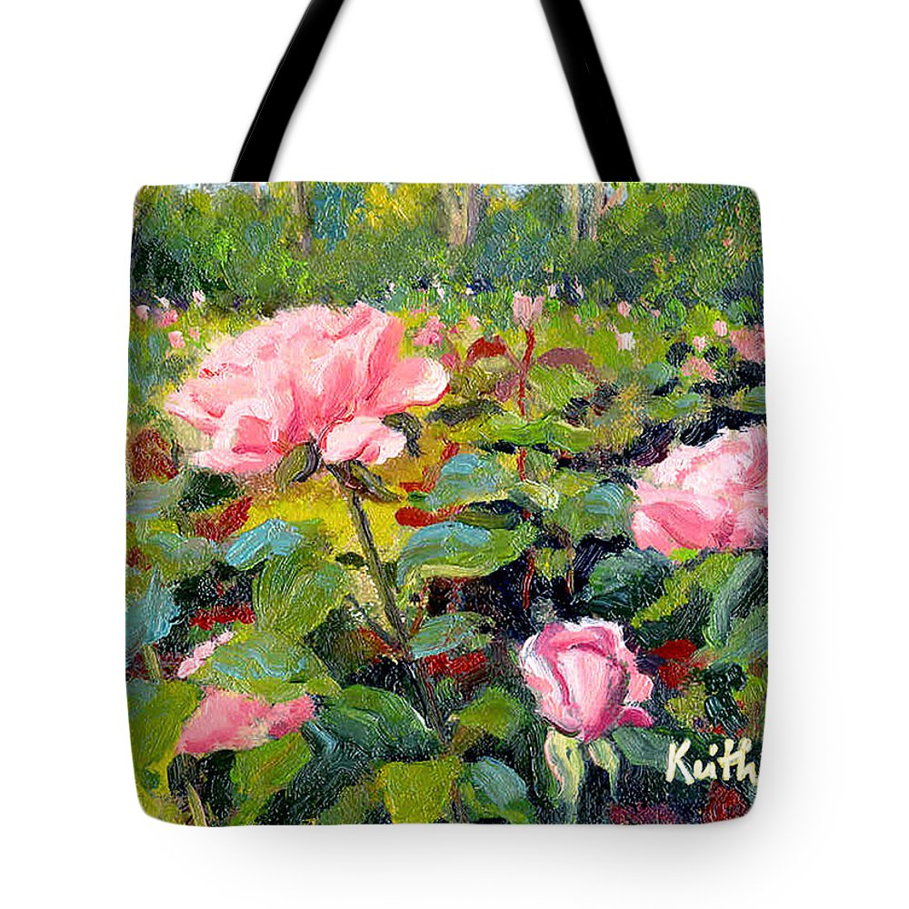 Impressionism Tote Bag featuring the painting September Roses by Keith Burgess