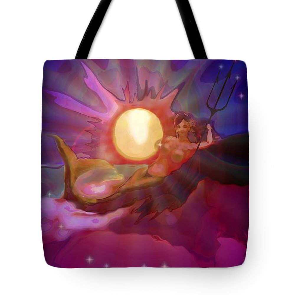 Sera Tote Bag featuring the digital art Sera Maroon by Mark Kleinschnitz