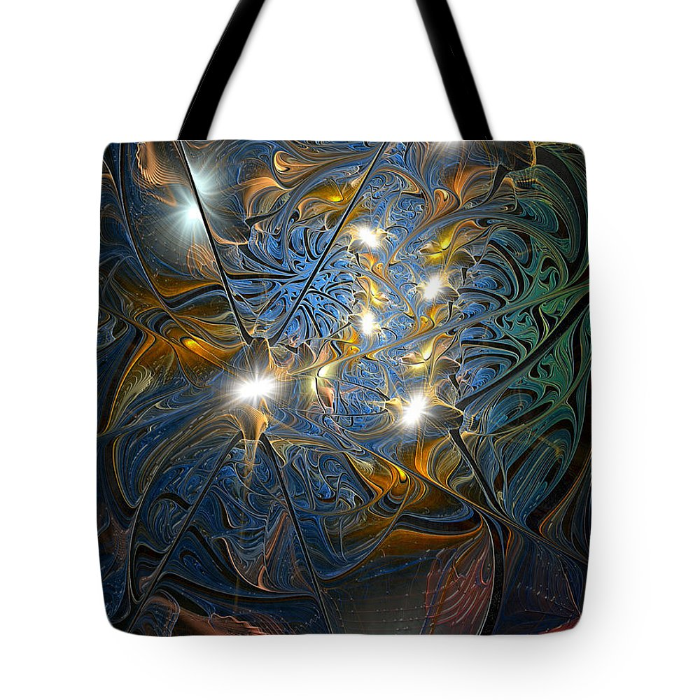 Abstract Tote Bag featuring the digital art Serendipitous Trope by Casey Kotas