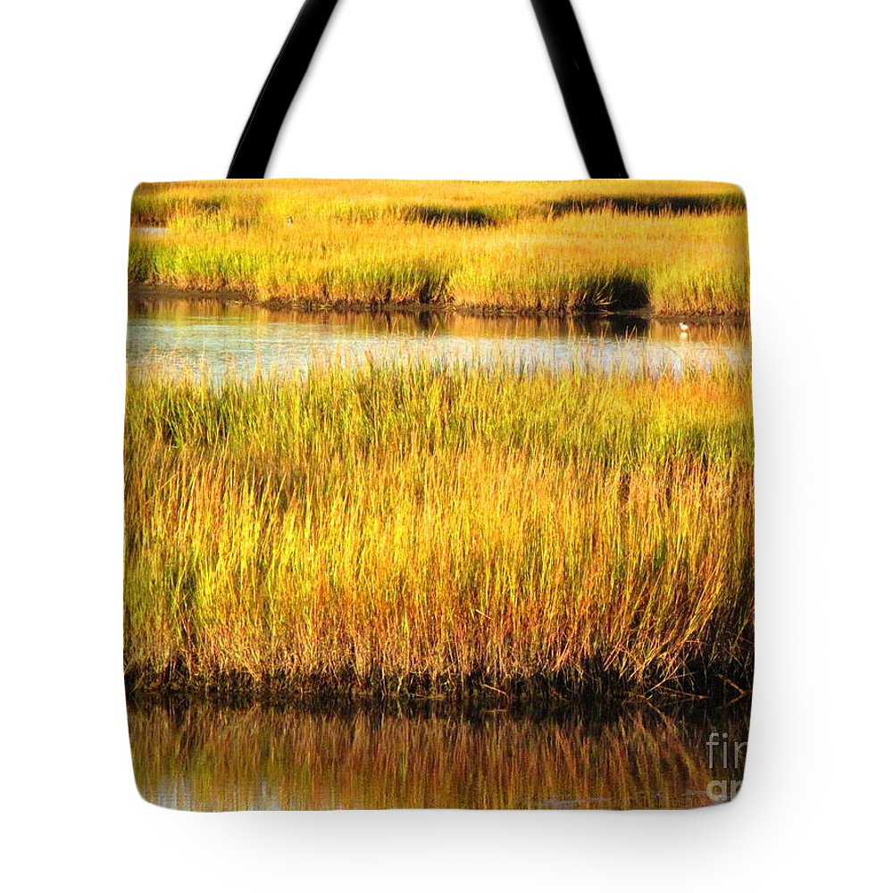 Water Tote Bag featuring the photograph Serene Grasses by Sybil Staples