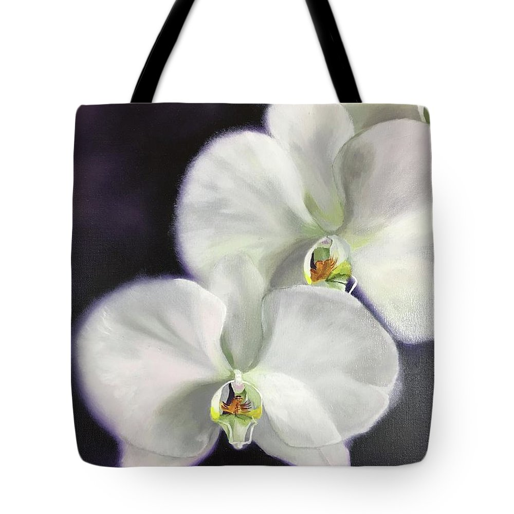 Orchid Tote Bag featuring the painting Serene by Nancy Breiman