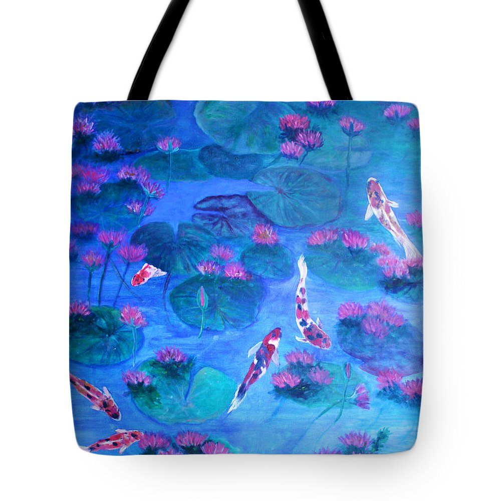 Lily Pads Tote Bag featuring the painting Serene Pond by Ben Kiger