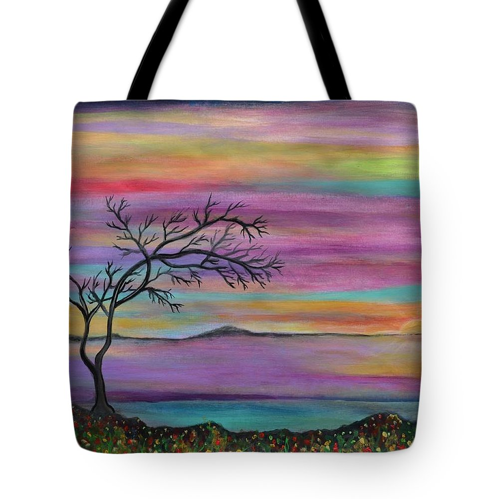 Landscape Tote Bag featuring the painting Serene sunset by Manjiri Kanvinde