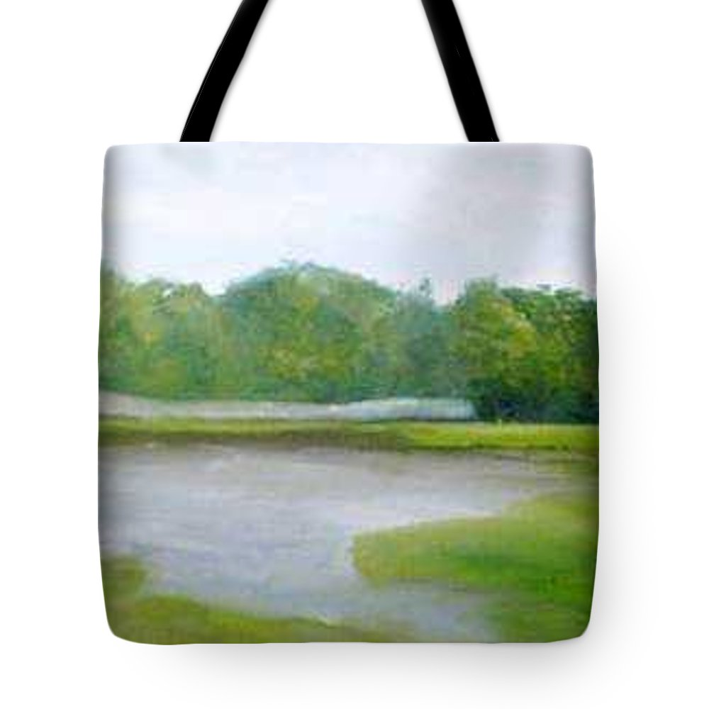 Landscape Tote Bag featuring the painting Serene Vista by Sheila Mashaw