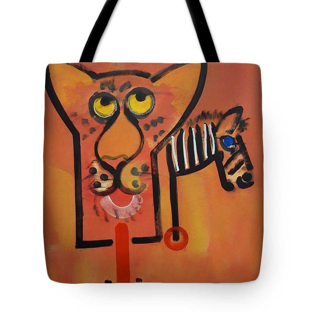 Big Cat Tote Bag featuring the painting Serengeti Cat by Charles Stuart