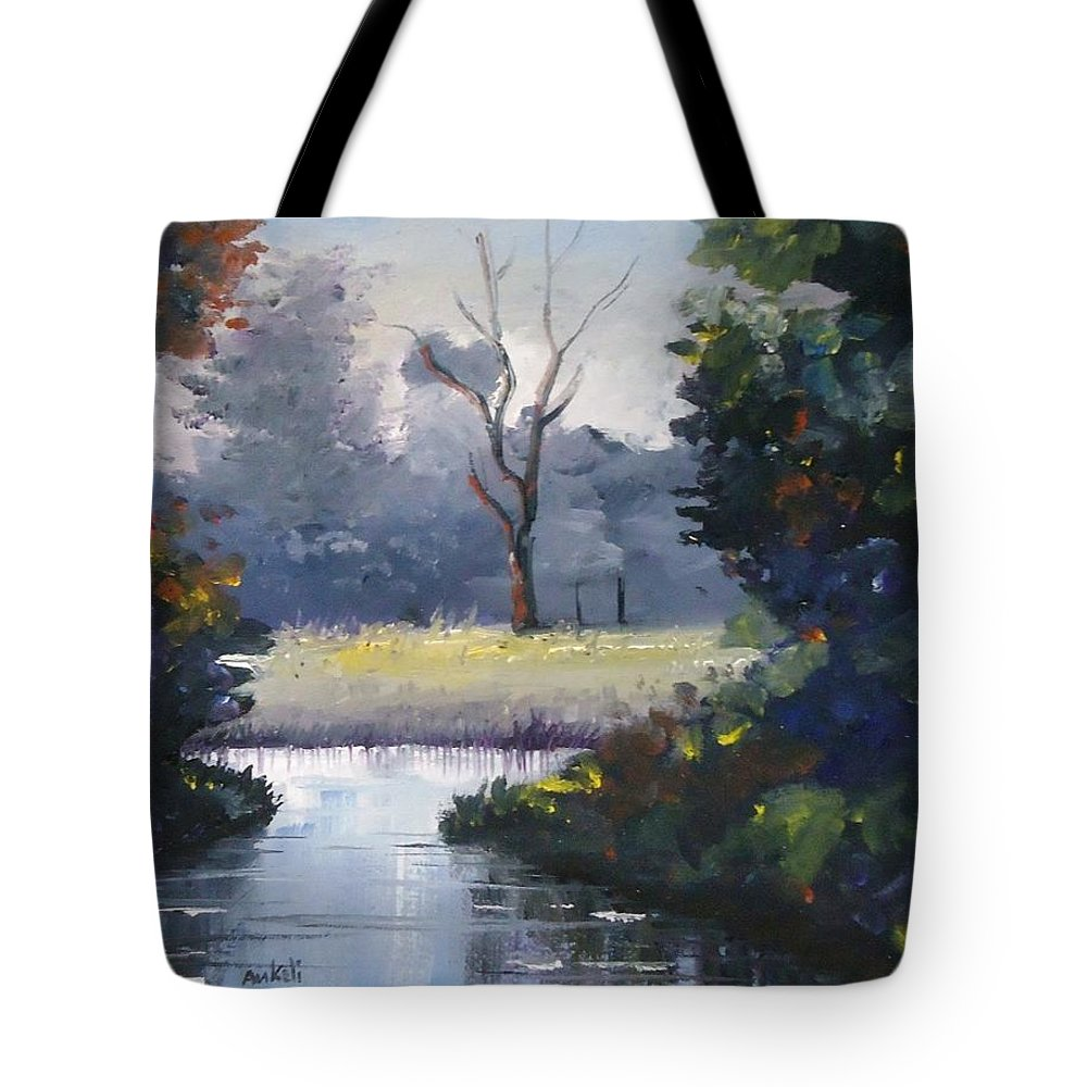 Landscape Tote Bag featuring the painting Serenity by Ankeli Chris