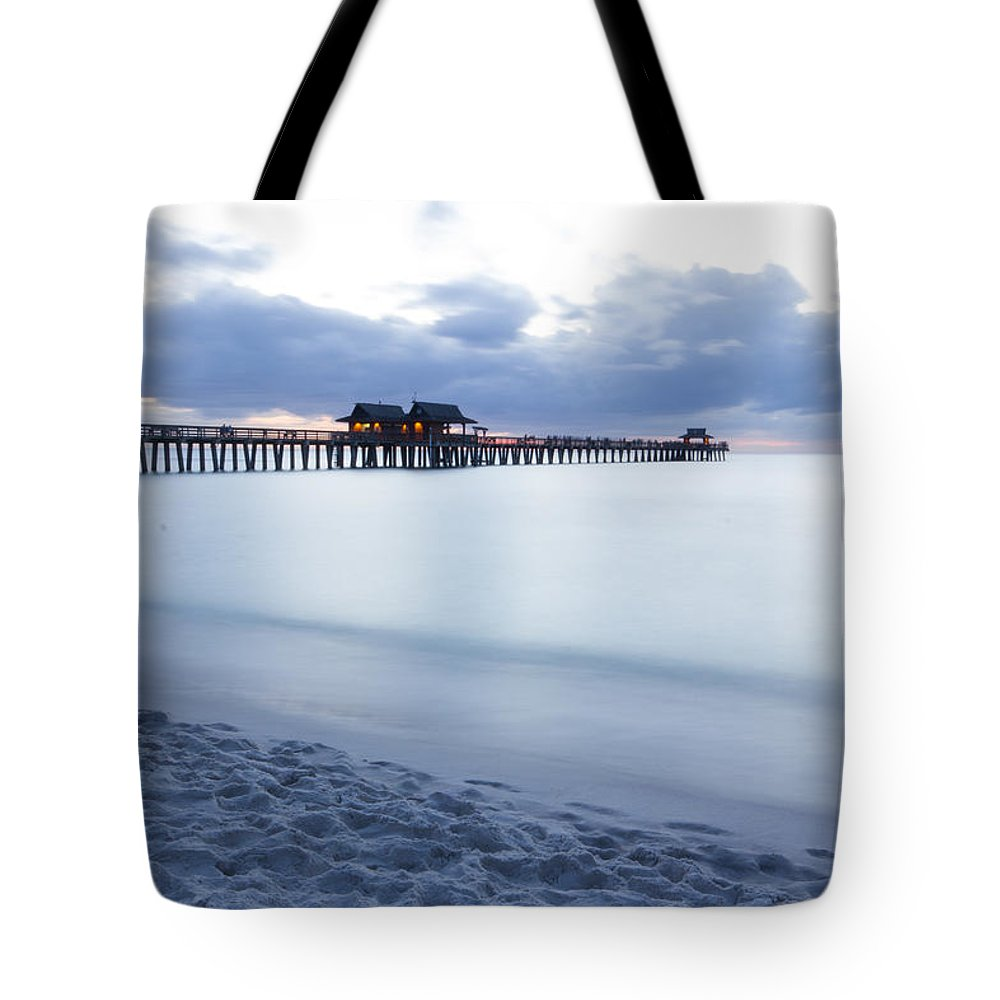 Naples Pier Tote Bag featuring the photograph Serenity At Naples Pier by Joseph Skalny
