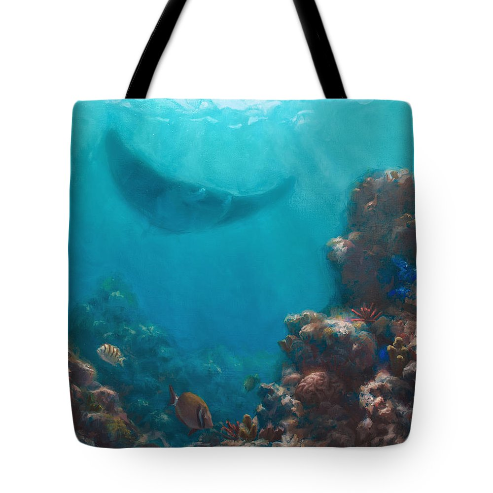 Reef Tote Bag featuring the painting Serenity - Hawaiian Underwater Reef And Manta Ray by Karen Whitworth