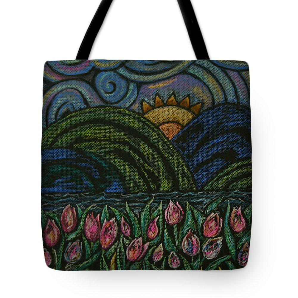 Landscape Flowers Sun Clouds Grass Water Mountains Pastels Green Yellow Blue Pink Scene Summer River Waves Tulips Hills Tote Bag featuring the photograph Serenity by Lisa Bates