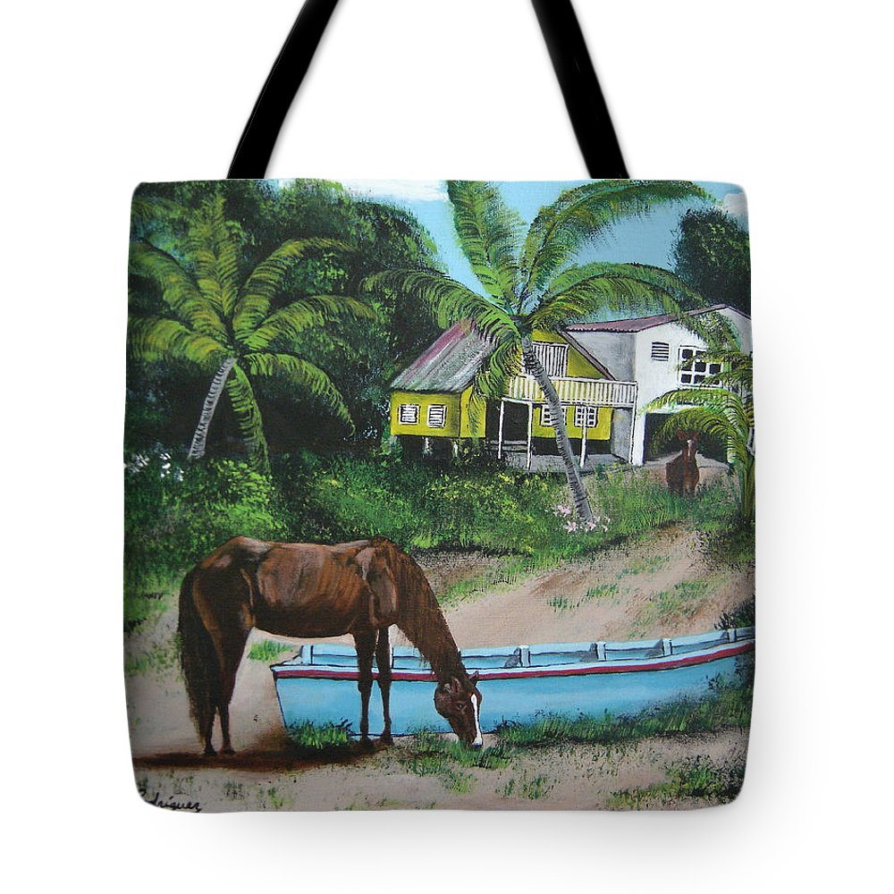 Aguadilla Tote Bag featuring the painting Serenity by Luis F Rodriguez