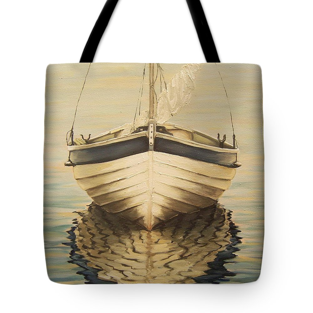 Seascape Tote Bag featuring the painting Serenity by Natalia Tejera