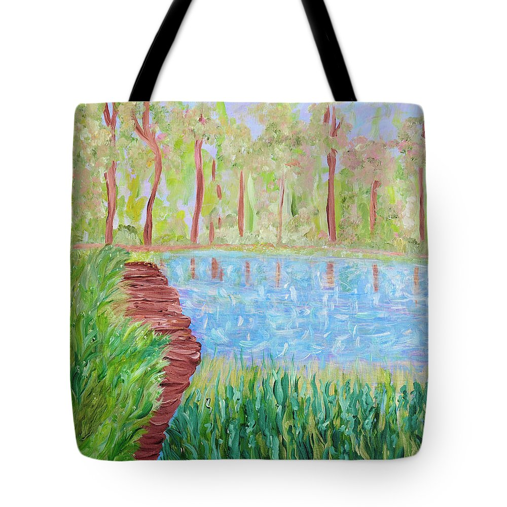 Lake Tote Bag featuring the painting Serenity Now by Sara Credito