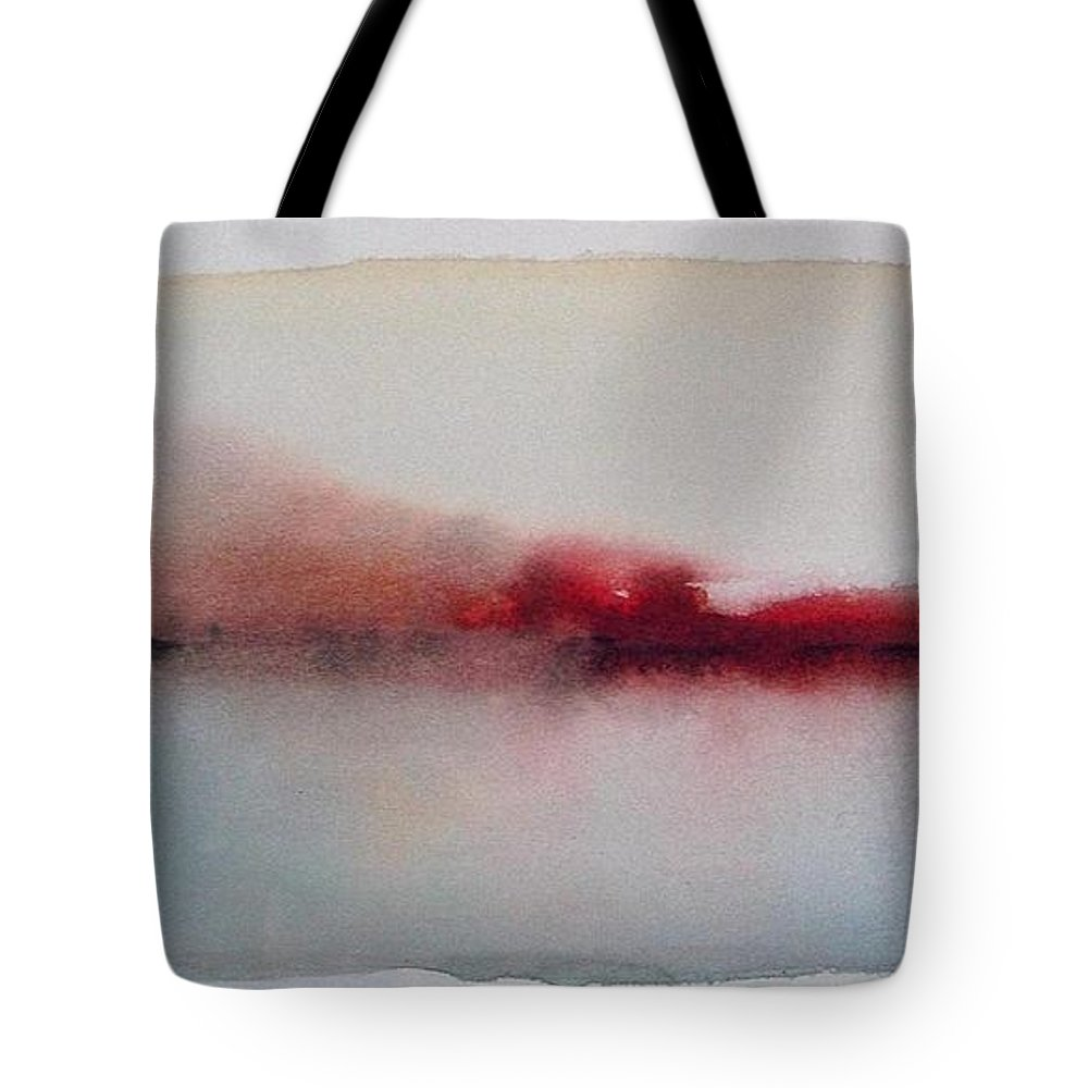 Watercolor Tote Bag featuring the painting Serenity Of The Lake by Vesna Antic